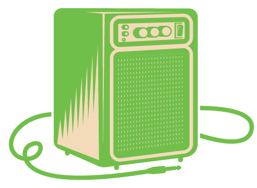 A green icon of an amp