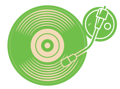 A green icon of a record on a turntable