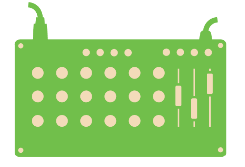 A green icon of a mixing board